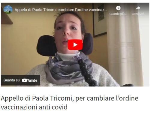 """"""" Io condivido"""" Appello di Paola Tricomi, per cambiare l'ordine vaccinazioni anti covid"""