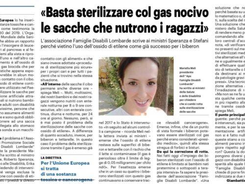 """""""Io condivido"""" Famiglie Disabili Lombarde – APS basta la sterilizzazione con ossido di etilene"""